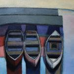 lr45178 sharman three boats in harbour 60 x 60cm oil on canvas 1425
