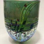 LR 45648 lustre rocks med flat bowl green 16cm 115