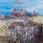 LR 46253 BEACHED FISHING BOATS BUDLEIGH SALTERTON PEN WASH 23X33CM 695